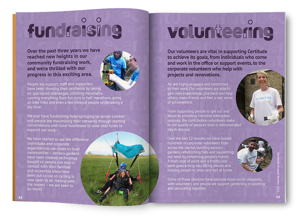Certitude Annual Review, Fundraising and Volunteering