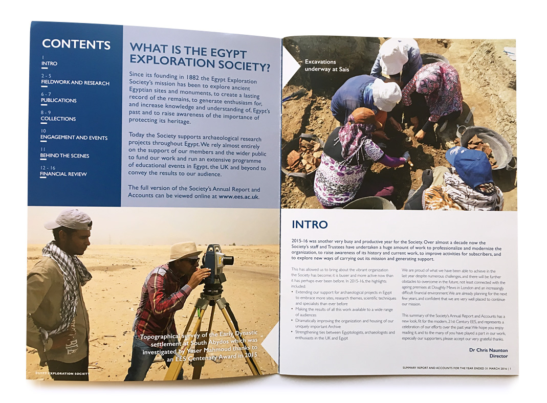 Egypt Exploration Society Annual Report Contents