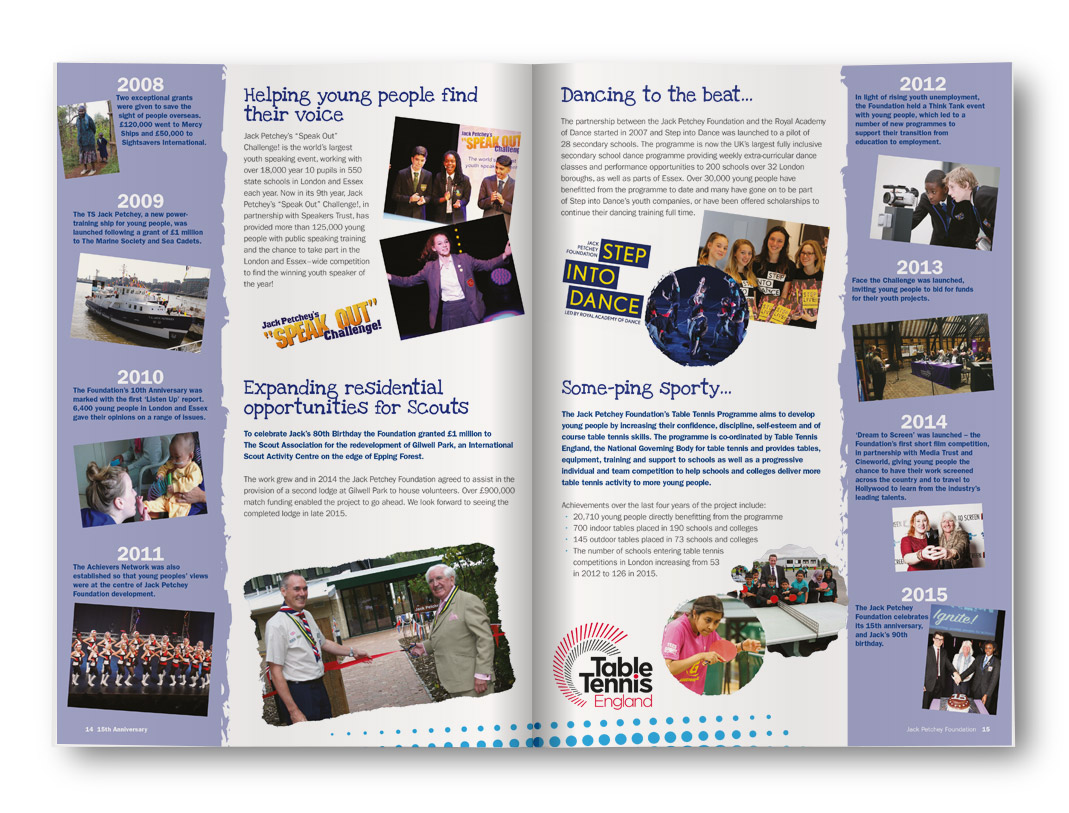 Helping Young People Find Their Voice, Jack Petchey Brochure Design