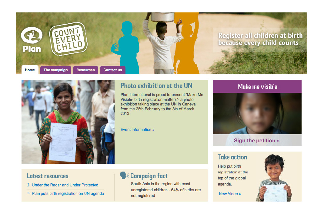 Plan International Count Every Child Website